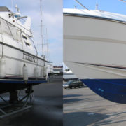 Motor Boat cleaned using Boat Buddy Boat Cleaning Products