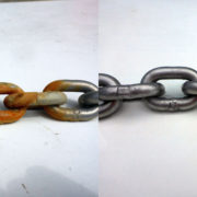 Rusty Stainless chain cleaned using Super Stainless