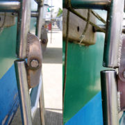 Rusty boarding ladder cleaned using SuperStainless