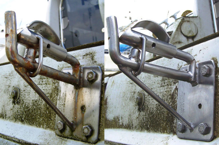 Snap davit cleaned using SuperStainless